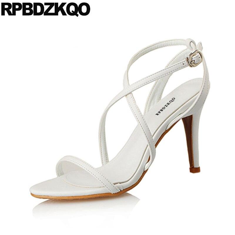 Strap Ladies Elegant Stiletto Pumps Sexy High Heels Open Toe Designer White Women  Sandals 2018 Summer c4b23393b104