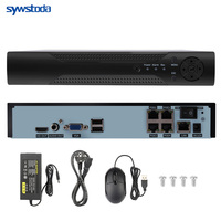 H.265 8CH 48V POE NVR 5MP/1080P Audio Out Surveillance Security Video Recorder For POE Camera Motion Detect