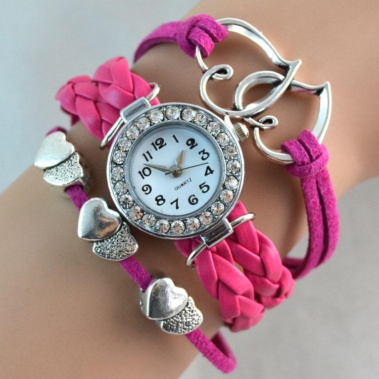 Reloj con brazalete de corazón doble con infinito para mujer de moda con diamantes de imitación