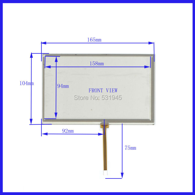 NEW Resistive tinch touch screens 7 inch 4 lines touch screen 165* 104mm screen XWT451 GLASS 165mm*104mm on AT070TN83 display