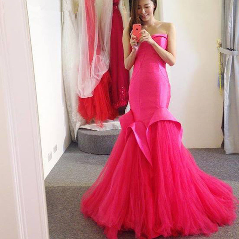 Elegant Sweetheart  Long Mermaid Evening Dresses 2018 Satin Tulle Sweep Train Formal Dress For Party Robe De Soiree custom made