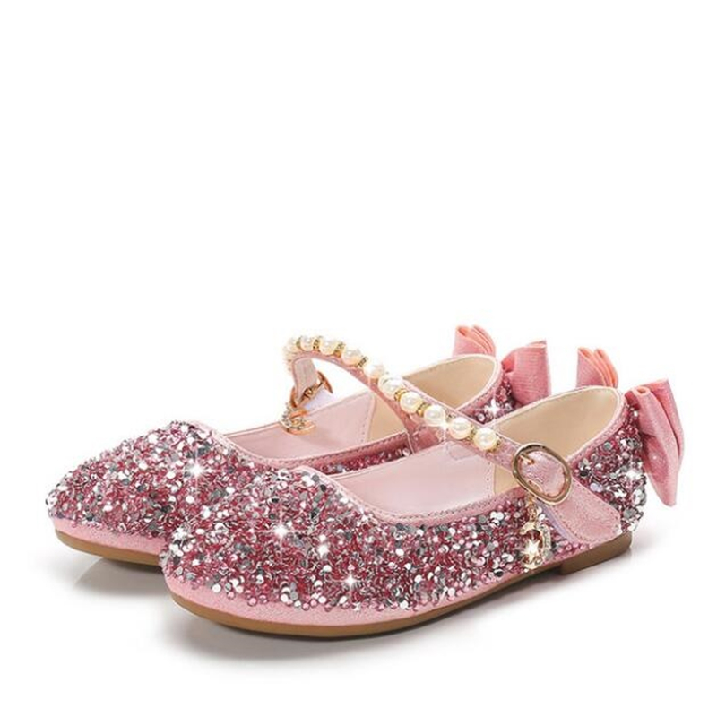 New 2019 Spring Fashion Children Flats Sequin Bow Knot Leather Shoes Sweet Girls Princess Shoes School Show Shoe 03K
