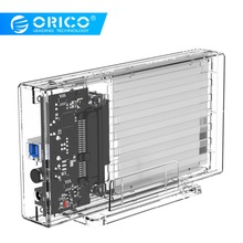 купить ORICO 2 Bay 2.5'' HDD Case SATA to USB 3.0 Transparent Hard Drive Enclosure Support UASP for 7-9.5 mm HDD SSD With 5V Adapter дешево