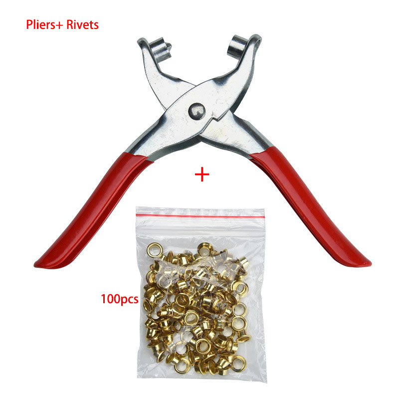 Rivet Tools Eyelet Pliers Hole Punch Pliers Hand Tool With Lock Catch 6 Inch And 100 Rivet For Punching Leather Belt