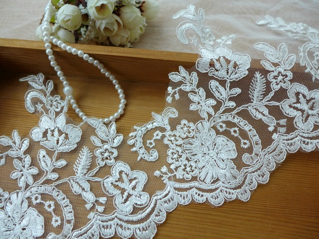 6 Yards Embroidery Flower Ivory Alencon Tulle Mesh Lace With Cord