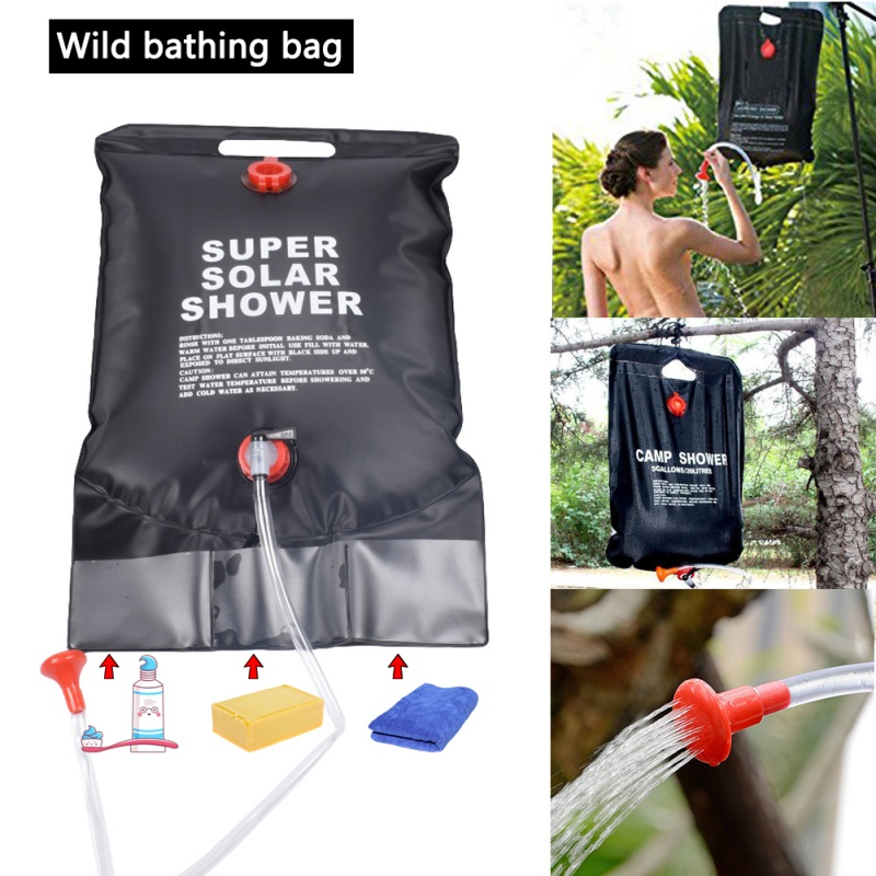Outdoor 20L Water Bladder Bag Solar Heated Shower Pouch for Camping Travel