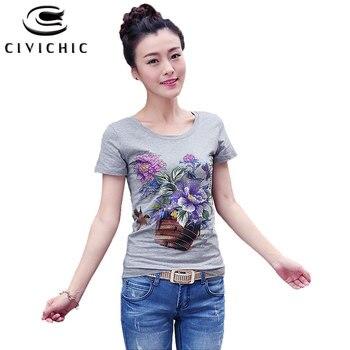 1ca67f95d691 CIVI шикарная Летняя женская тонкая футболка с цветочным принтом, женские  ...