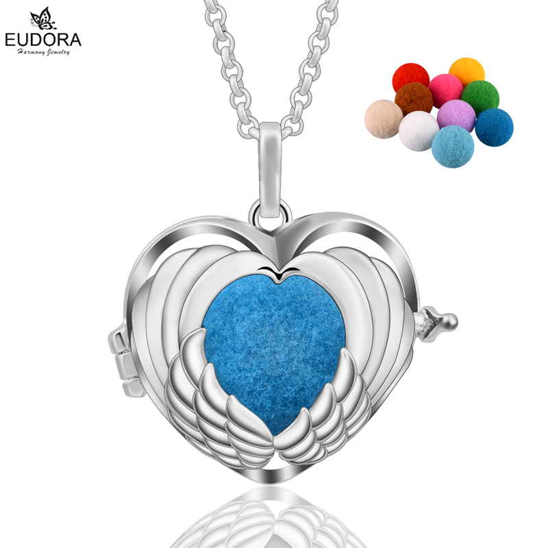 Eudora Angel Caller Wing Aromatherapy Diffuser Locket Essential Oil Perfume Necklace DIY Maternity Jewelry With Pompon Ball