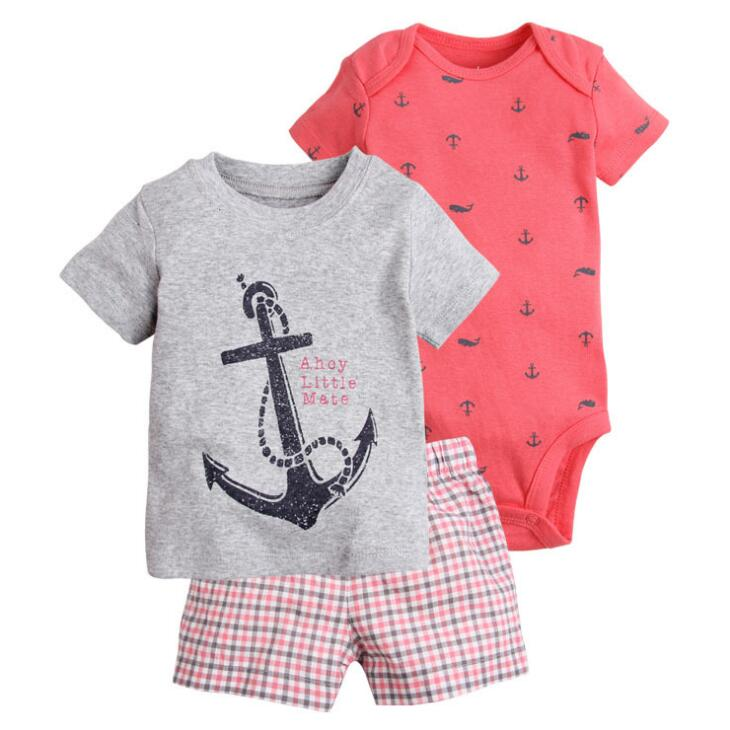 New arrive 2018 toddler baby boy summer clothing set kids boy clothes set bodysuit + T shirt + shorts baby boy clothing newborn купить недорого в Москве