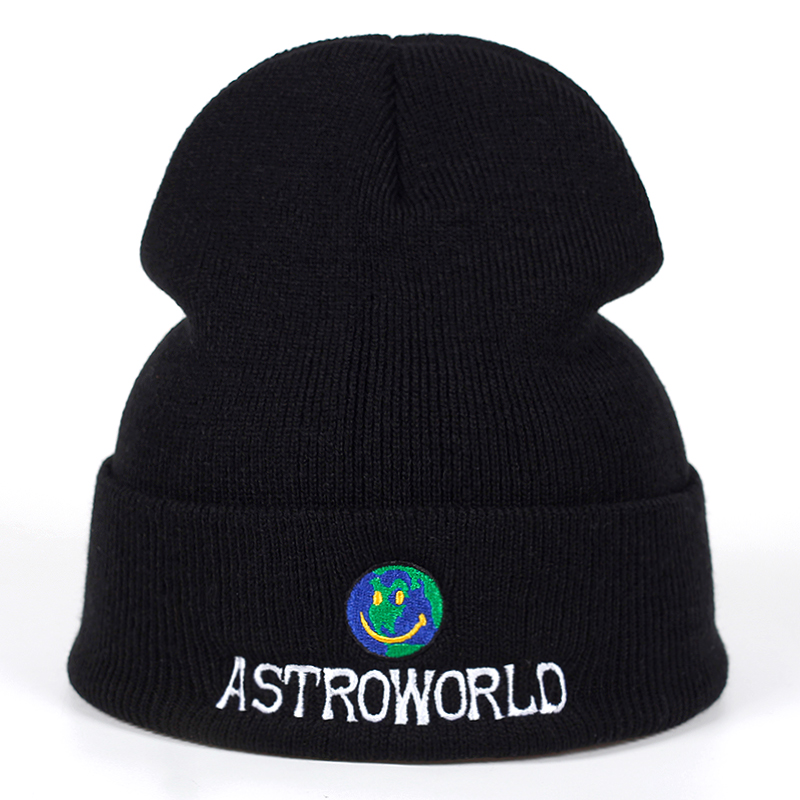 2018 New Travi$ Scott   Beanie   ASTROWORLD Knit Cap Embroidery Astroworld Ski Warm Winter Unisex Travis Scott ski   Skullies   &   Beanie