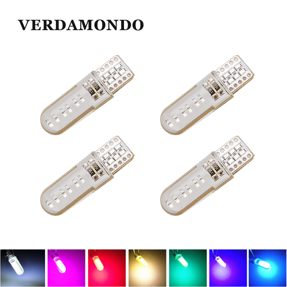 4X T10 W5W LED 194 COB Silicone Shell LED Lights Car Side Wedge Lamp Bulb White Blue Red Pink Yellow Parking Light Reading Lamp