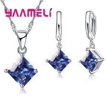 8 Colors Women Pendants Necklace Set Lover Square Shape Crystal 925 Sterling Silver Necklace Earrings Jewelry Sets Lady(China)