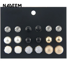 (9 Pairs/1 lot ) Fashion Multicolor Round Resin,Pearl Beads Stud Earrings Set Gold Color Ball Crystal For Women