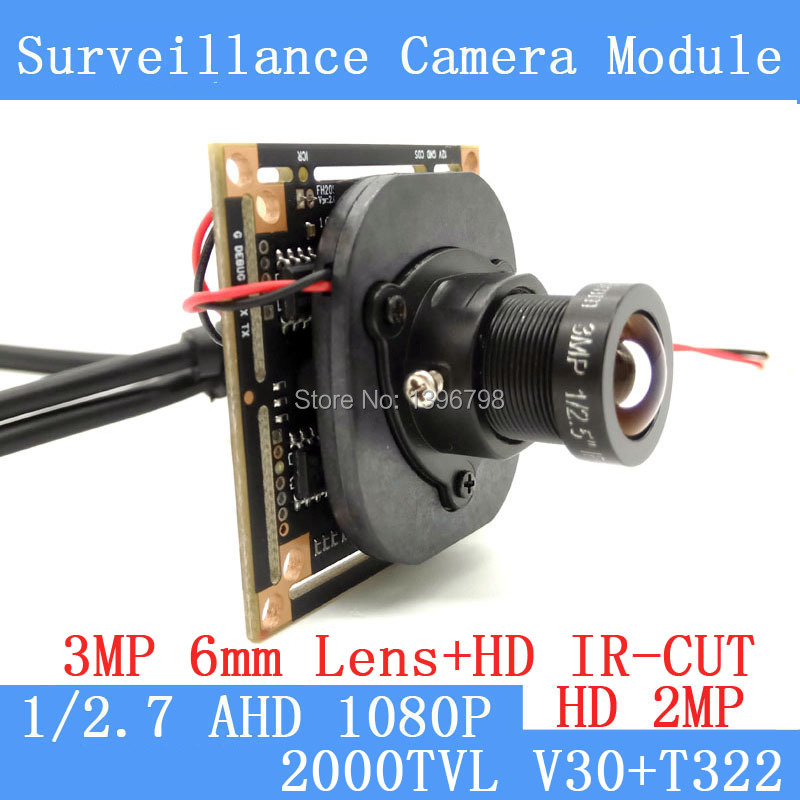 AHD 2MP CCTV V30+T322 Camera Module 1920 * 1080 AHD 1080P  Low Illumination 0.001lux OSD Cable 2000TVL  3MP 6mm Lens / BNC Cable ahd 2 0megapixel cctv camera module pcb low illumination 0 001lux osd cable dc12v cvbs 2000tvl 3d noise reduction