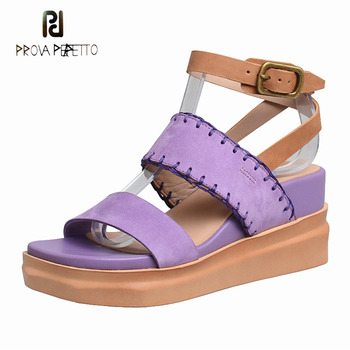 Prova Perfetto wedge heel sandals women 2019 summer new ankle buckle strap open toe platform flat gladiator sandals casual shoes