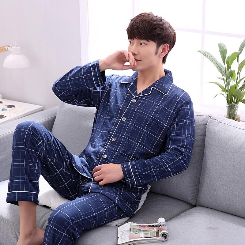 Men's Pajamas Spring Autumn Long Sleeve Sleepwear Cotton Plaid Cardigan Pyjamas Men Lounge Pajama Sets Plus size 3XL Sleep