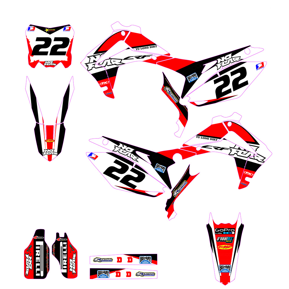 Customized Number Gloss Team GRAPHICS BACKGROUNDS DECAL STICKER for Honda CRF250R CRF250 2014 2015 2016 CRF