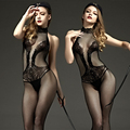 Venda quente de alta qualidade Mulheres sexy lingerie black mesh transparente bodystockings virilha aberta bodysuits meninas meias + free-tangas