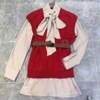 women mini dress 2018 autumn trumpet dress long sleeve 2 pcs set women dress