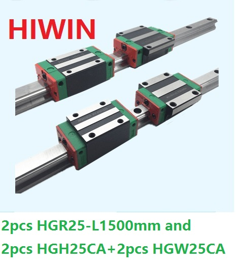2pcs 100% original Hiwin linear guide HGR25 -L 1500mm + 2pcs HGH25CA and 2pcs HGW25CA/HGW25CC block for CNC noulei hgw25cc hgw25ca slide block with 1500mm linear guide rail hgr25 for cnc z axis hgw25 guia