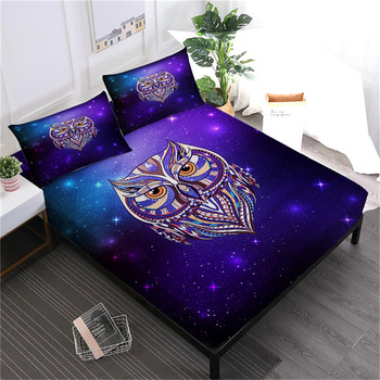 Colorful Animal Owl Sheets Set Purple Galaxy Print Fitted Sheet King Queen Bedsheet Bed Linens Bedclothes Pillowcase Bedding