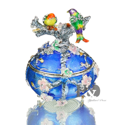 H&D Vintage Love Bird Jewerly Trinket Box Faberge Egg Jeweled Box Decor Jewelry Holder Organizer Wedding Home Decor Easter Gifts