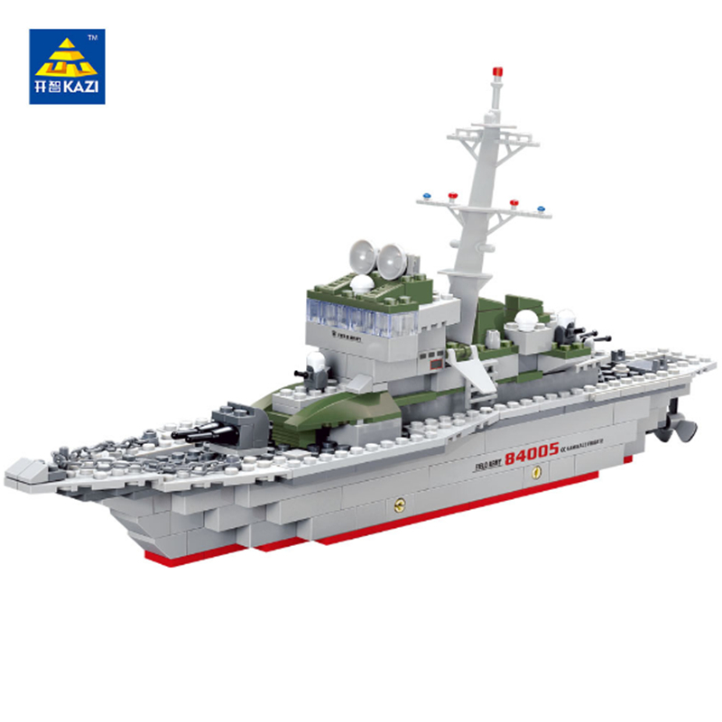 KAZI Military Frigate Ship Model Brick Building Blocks Army Toys Set Educational Compatible with lego