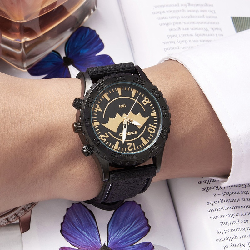 2017 men watches batman top brand luxury quartz watch casual leather sport wrist watch montre. Black Bedroom Furniture Sets. Home Design Ideas