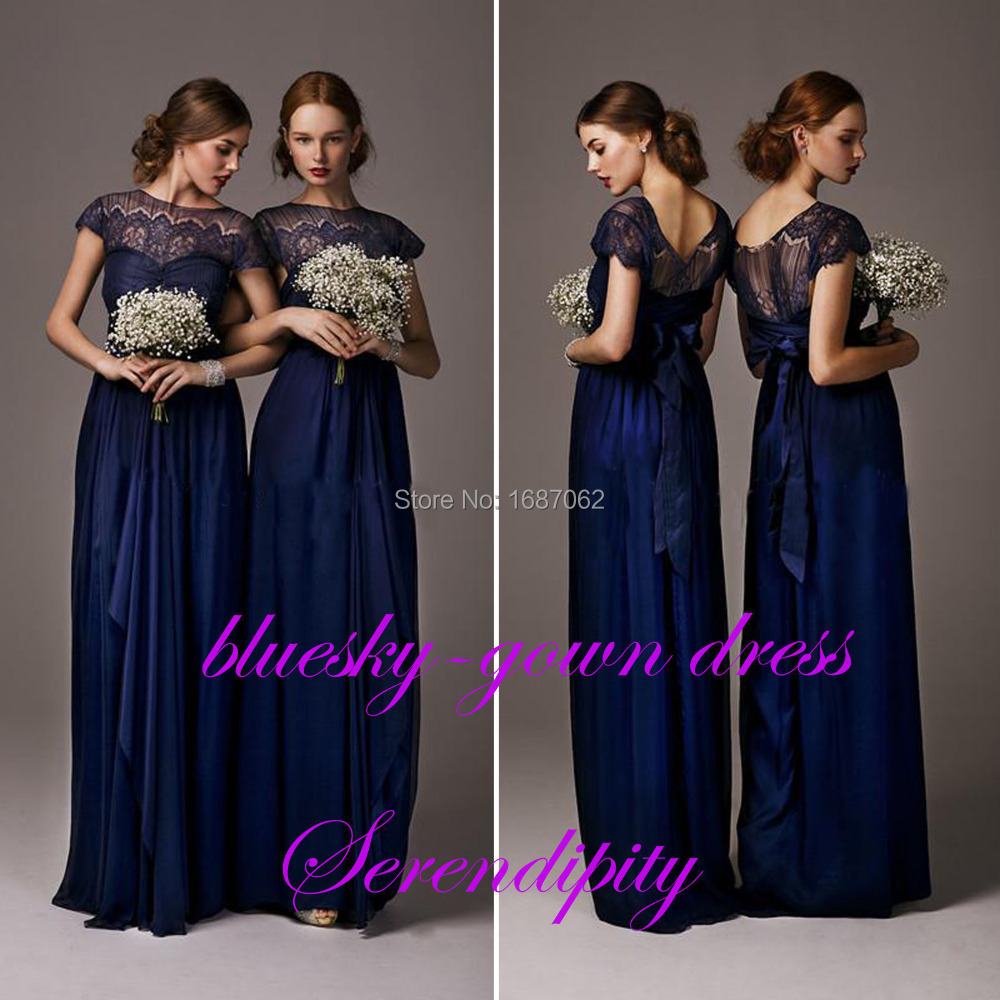 Cheap cap sleeve navy blue chiffon lace bridesmaid dresses formal cheap cap sleeve navy blue chiffon lace bridesmaid dresses formal prom dresses custom made all sizes in bridesmaid dresses from weddings events on ombrellifo Choice Image