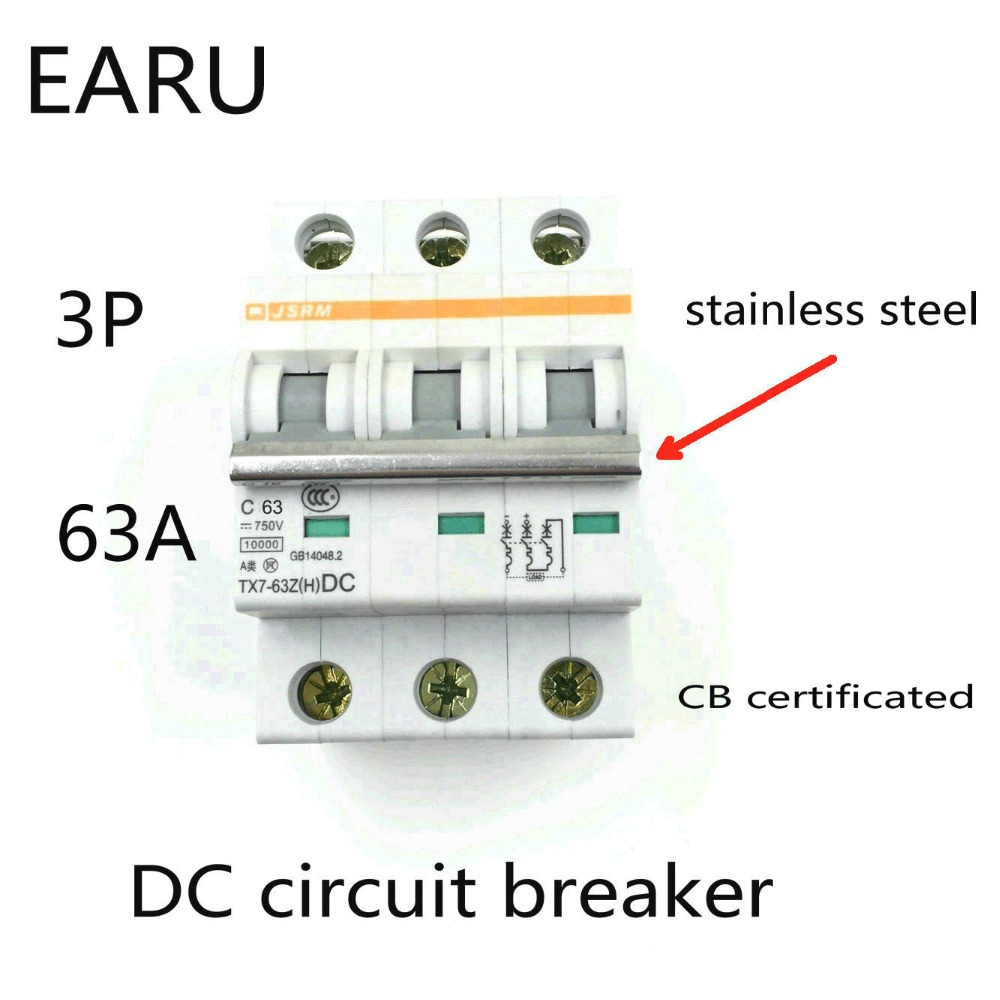 3P 63A DC 750V DC Circuit Breaker MCB for PV Solar Energy Photovoltaic System Battery C curve CB Certificated Din Rail Mounted diy kits p10 outdoor single yellow led panel 4 pcs 1 pcs led controller 1 pcs jn power supply led display screen all cables