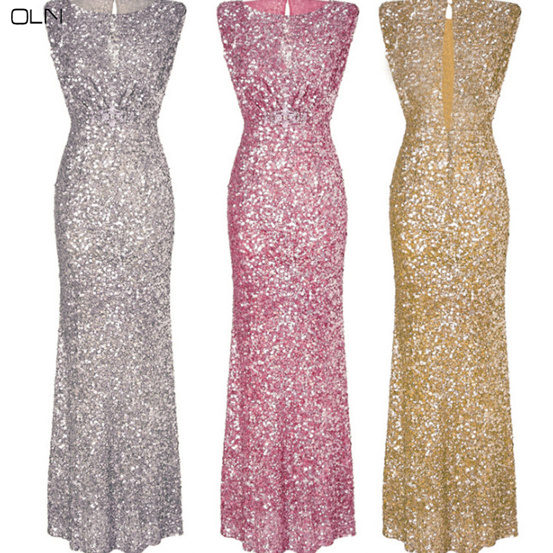 OLN Autumn Sexy Woman Sequins Long Section Evening Party Dress Winter Women Pretty Banquet Dresses Plus Size Elegant Lady Dress