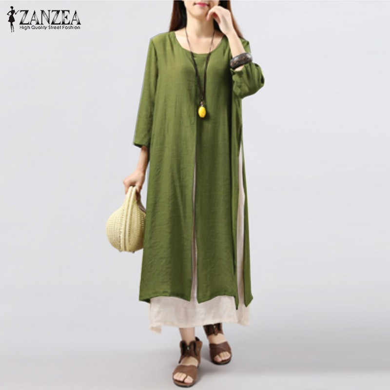 70bbf08da08 ... ZANZEA Women Dress 2018 Autumn Vintage Cotton Linen Dress Casual Loose  Long Dresses Plus Size Vestidos ...