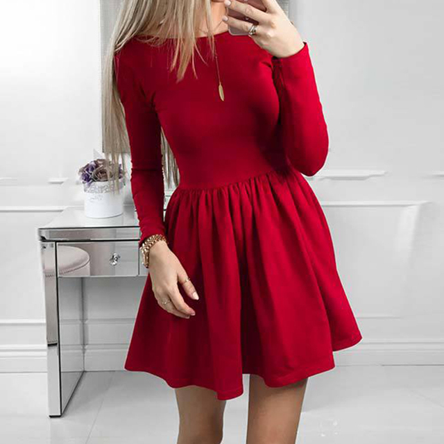 a34d11044 Outono Inverno 2018 Vestidos Mulheres Casual Vestido de Manga Longa Preto  Vermelho Do Vintage Mini Vestido
