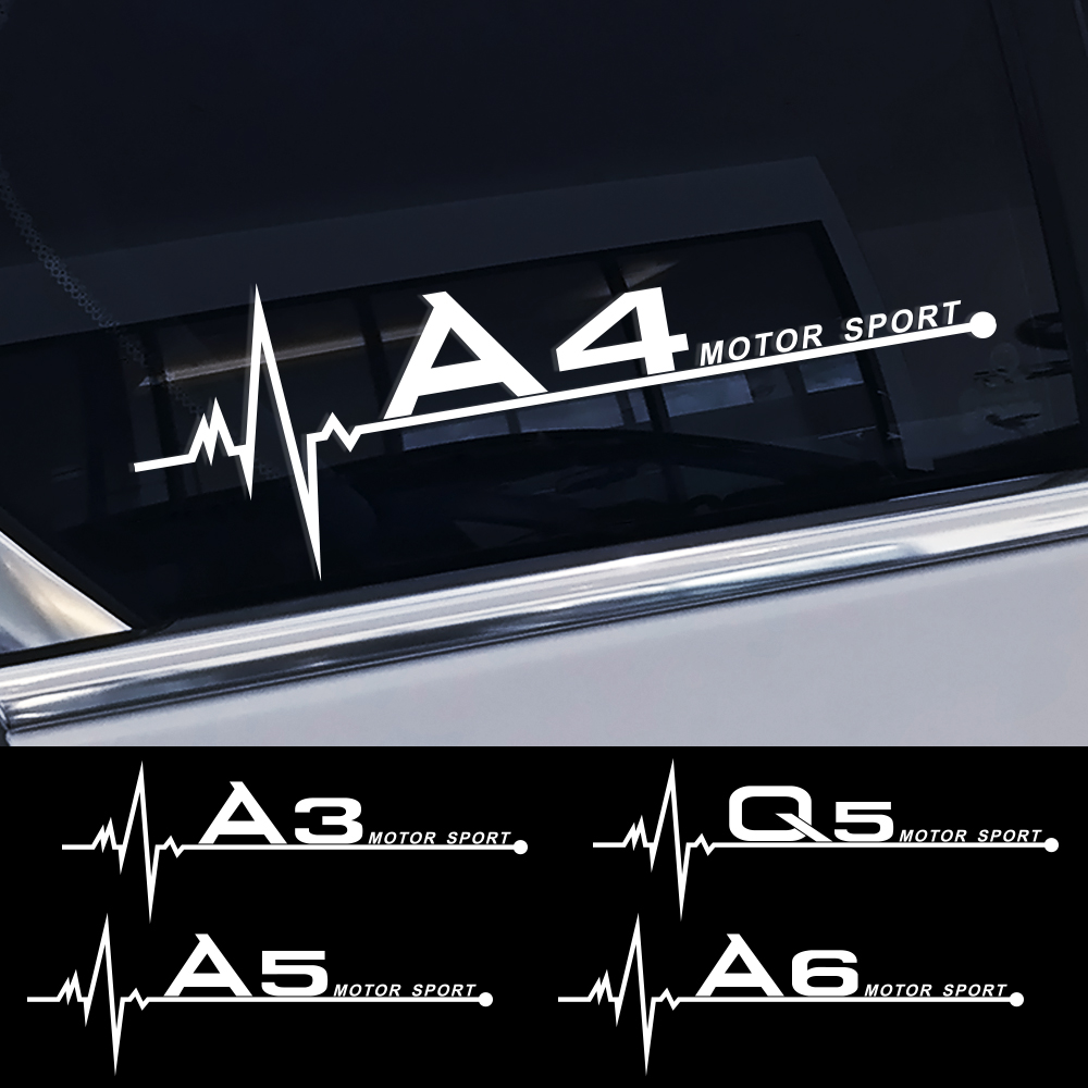 Car Side Window Stickers Decals For <font><b>Audi</b></font> A4 B5 B6 B7 B8 B9 A3 8P 8V 8L A5 A6 C6 C5 C7 4F A1 A7 A8 Q2 Q3 Q5 Q7 RS3 RS4 RS5 RS6 TT image