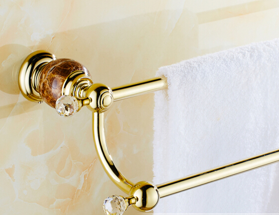 ФОТО High Quality Gold wall mounted 24 inch Double Towel Bar Brass&Diamond Towel Holder Bathroom Towel Rack Bathroom accessories