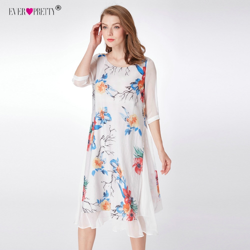 Ever Pretty Vestido Novia Chinese Style Short Party Gown A-line 04000 White Floral Print Half Sleeve Mother Of The Bride Dresses