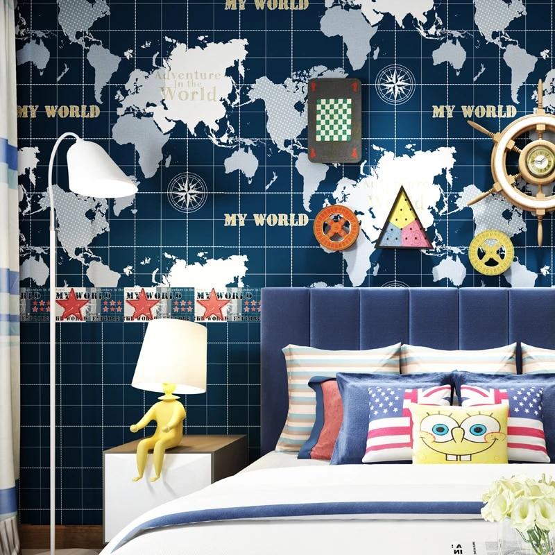 Mediterranean Children S Room Wallpaper Dark Blue World Map Boys Bedroom Study Background Wall Non Woven Wallpaper For Kids Wallpapers Aliexpress