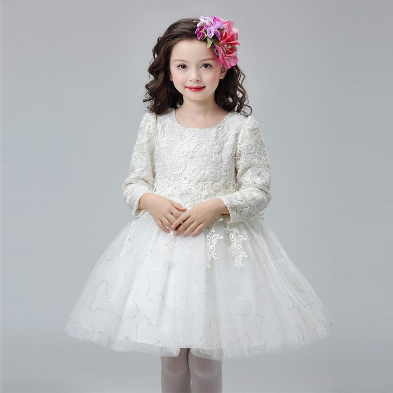 Winter Children Wedding Flower Girls Dress Princess Party Pageant Formal Dresses Bridesmaid Birthday Gown Lace Tulle Dress 5-14Y handmade tulle flower girl dress princess flower tutu dresses children kid baby pageant bridesmaid wedding party formal dresses