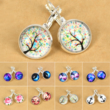 Bluelans Ladies Galaxy Space Silver Plated French Lever Back Drop Dangle font b Earrings b font