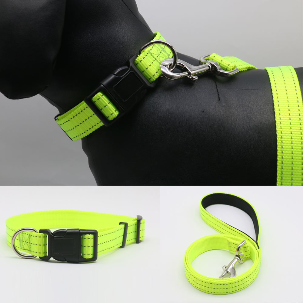 Dog collar dog leash set Nylon reflective safety adjustable easy to wear off Dog accessories for small meduim big dog collars in Sets from Home Garden