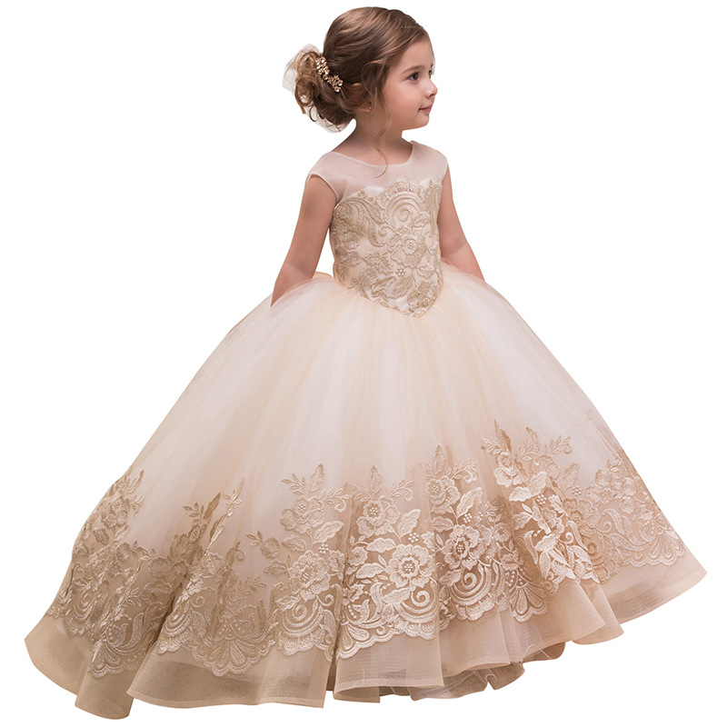 Girls Lace Dress Floral Princess Tutu Dress Kids Party Wedding Bridesmaid Formal Trailing Sleeveless Dresses цена