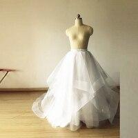 Formal Bridal Wedding Style Skirt Ribbon Zipper Waistline A Line Floor Length Long Tulle Skirt Ruffles White Tulle Skirts Women