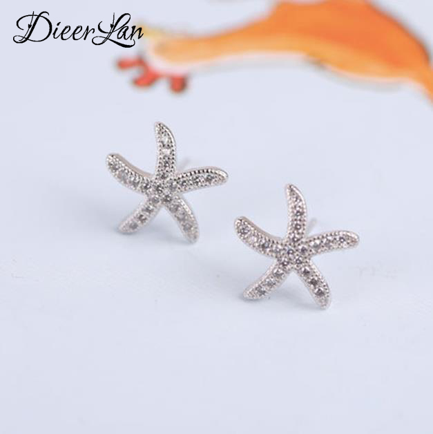 925 Sterling Silver Crystal Starfish Earrings for Women New Design Girls Christmas Gift Statement Jewelry Pendientes Plata 925