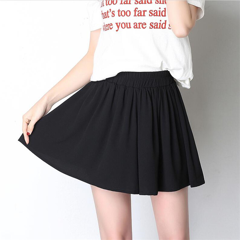 Women New Fashion Black Chiffon Loose Pleated Wide Leg   Shorts   Plus Size 7XL Elastic High Waist Culottes Female   Shorts   Skirts 6XL