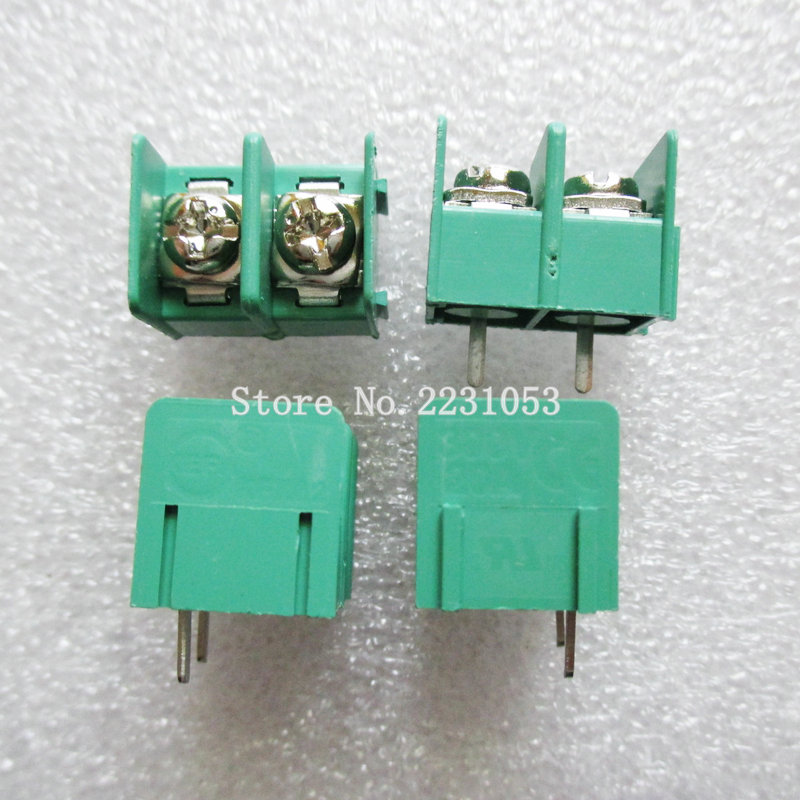 10PCS/LOT KF7.62-2P 7.62mm pitch connector pcb screw terminal block connector 2pin 300V 20A 22-12AWG 5 pcs 400v 20a 7 position screw barrier terminal block bar connector replacement