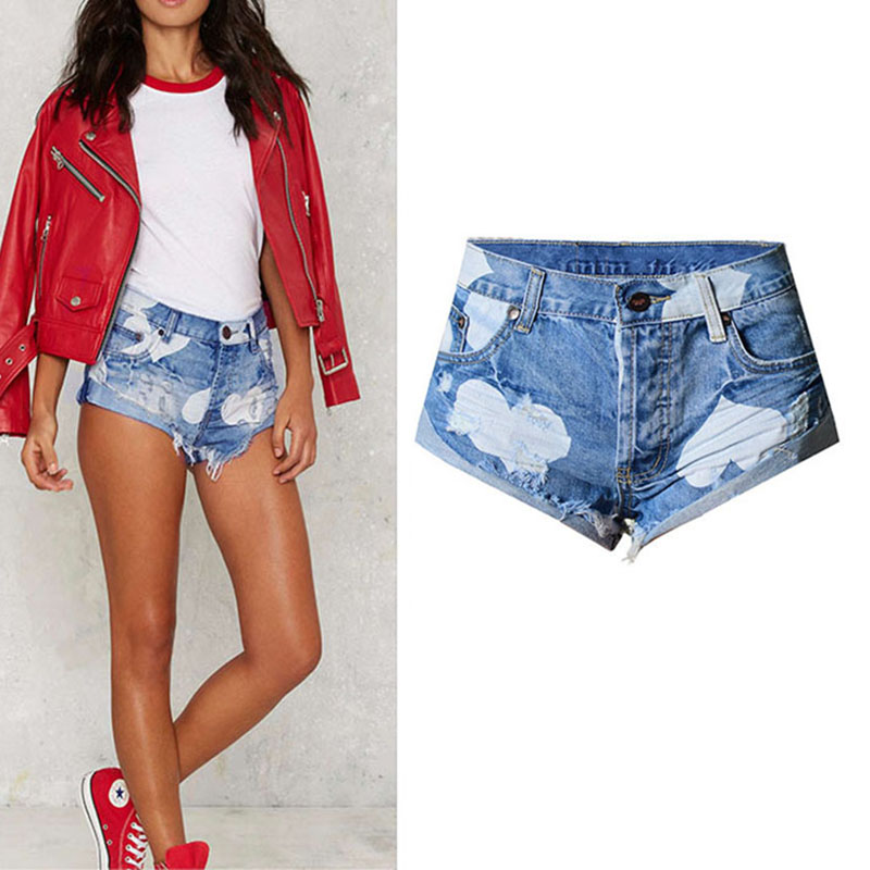 2017 New Design High Quality Women Clothing Low Waist Short Jeans Heart-shaped Printing Tassel Pants Lady Cuffs Denim Hot Pants new denim mesh spliced fishnet sexy jeans shorts high cut vintage cute bikini low rise waist micro mini hot short culb wear f35