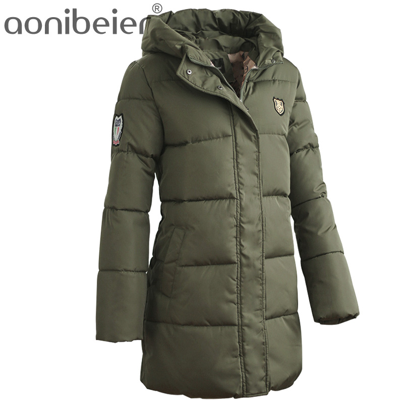 Aonibeier Discounts Winter Jacket Women's Warm Cotton Parka Down Jackets Zipper Coat Solid Hooded Cotton Padded Long Parkas free shipping winter jacket men down parka warm coat hooded cotton down jackets coat men warm outwear parka 225hfx
