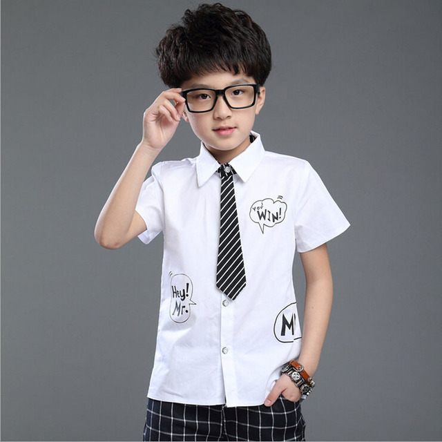 Nuevos ni os de la llegada camisas manga corta con corbata para ni os marca  jpg a3dcf0766b6