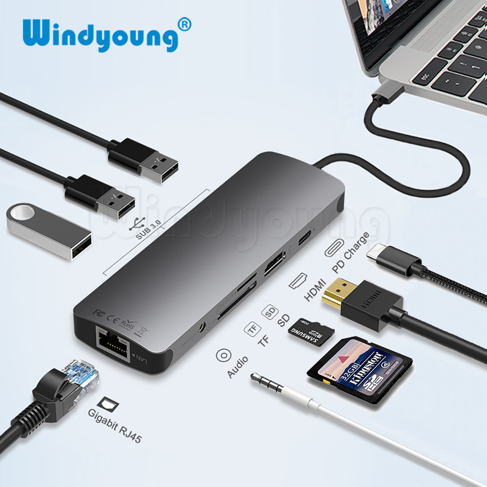 Thunderbolt 3 Dock USB C Type de moyeu C vers HDMI USB 3.0 RJ45 3.5mm adaptateur Audio pour MacBook Pro Huawei P20/30 Pro adaptateur de moyeu de USB C