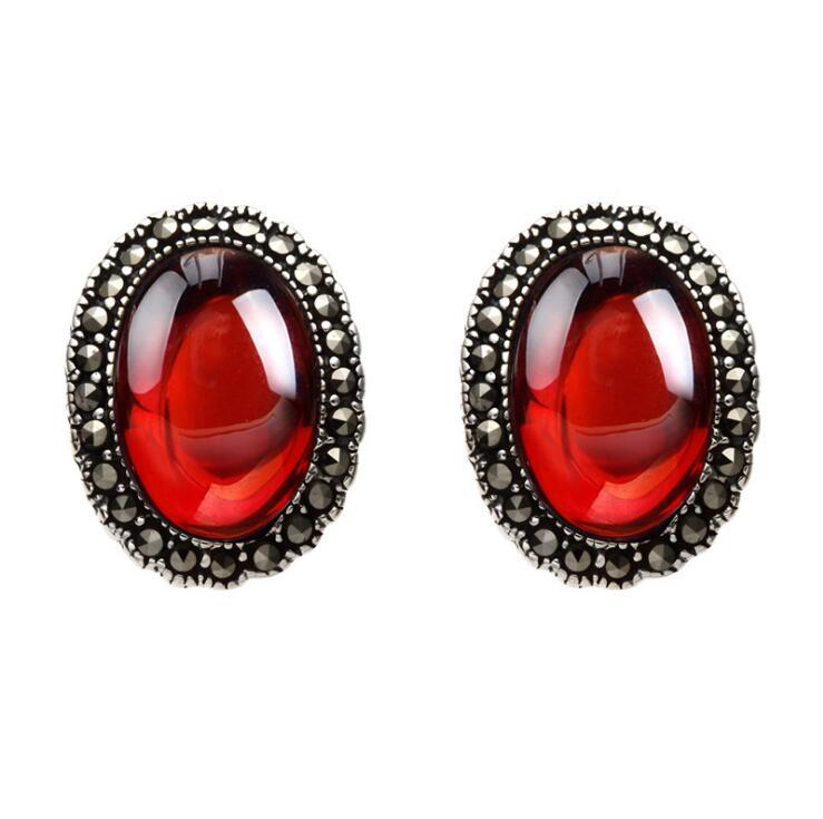 KJJEAXCMY fine jewelry 925 pure silver inlaid garnet female earring Earrings